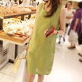 Free shipping 2016 summer dress fashion casual loose plus size dress woman vest linen dress brand