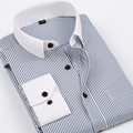 Camisas Dos Homens de alta Qualidade Completo Manga Listrada Patchwork Colarinho Slim Fit Casuais Camisas Dres Chemise Homme Camisa Masculina Sociais