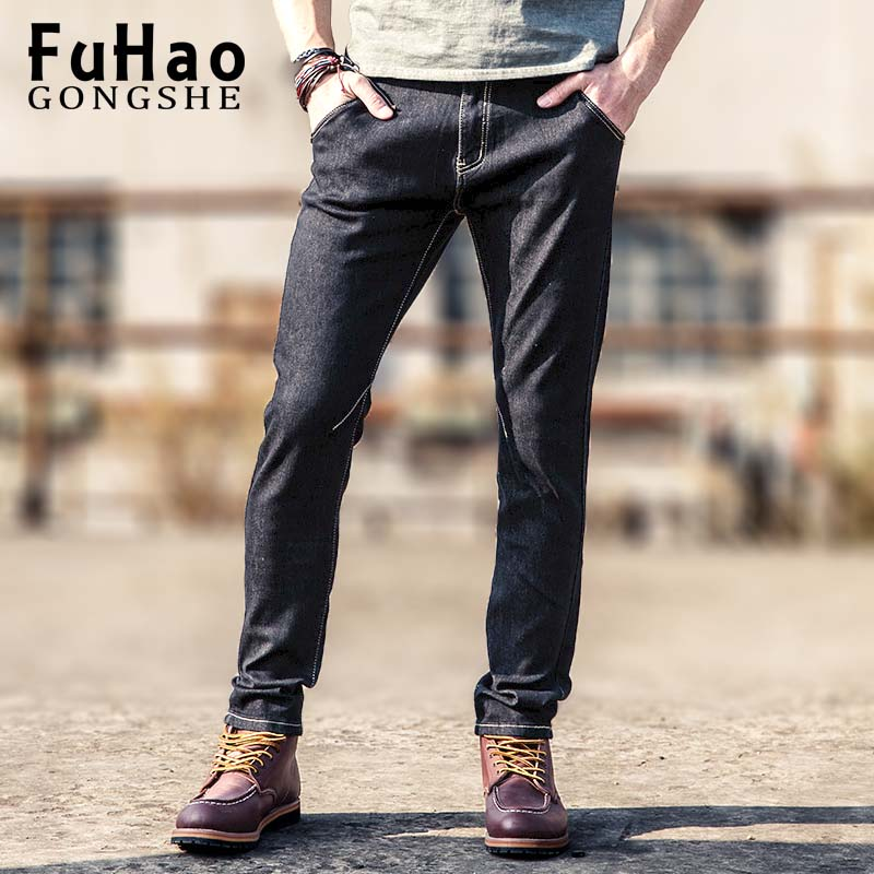 2017 New Men Jeans Casual Pants Classic Whiskering Jeans Straight Denim Jeans Masculina Male Denim Trousers Cotton