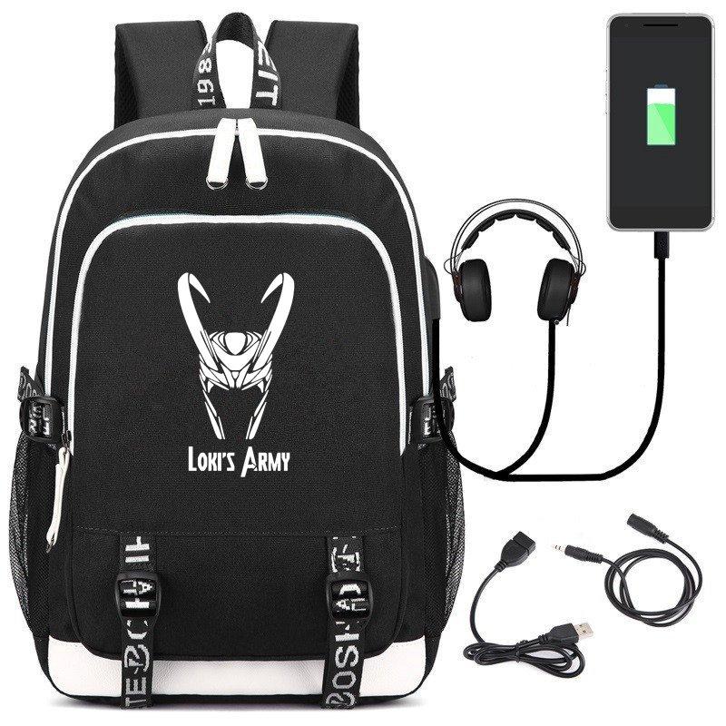 New Comics Supervillain Loki USB Laptop Backpack Unisex Black Travel Shoulder Bag Cartoon School Bags Work Casual Bags Gift