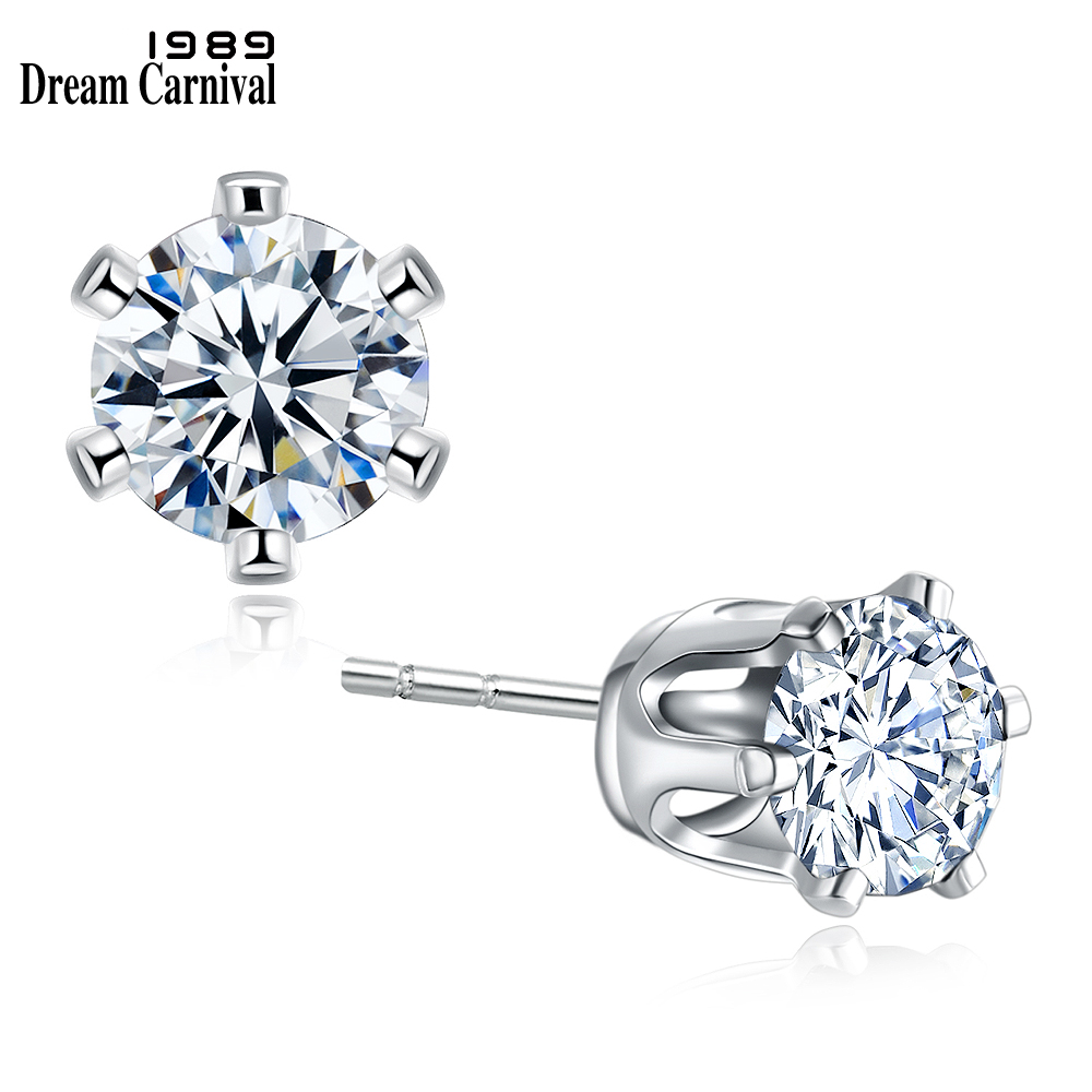 DreamCarnival 1989 Round 4mm Crystals Button Stud Earrings for Women Rhodium Gold Jewelry Super Deal Sales Moda Brincos de Botao