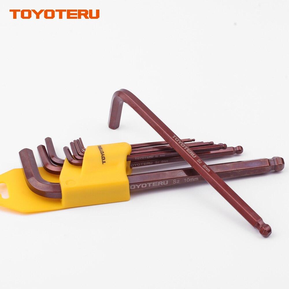 Купить с кэшбэком TOYOTERU 9PCS S2 Long Arm Metric Hex Wrench Set Ball Ended Alex Spanner Hexagonal Wrench Set