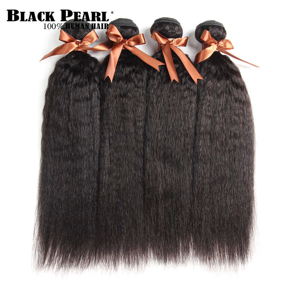 Blackpearl Peruvian Hair Weave Bundles 10-26 Inch Kinky Straight 4 Bundles Natural Color Non Remy Human Hair Fast Shipping