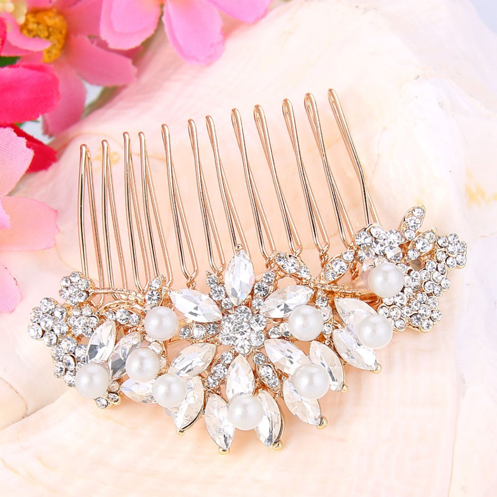 BELLA Fashion Rose Gold Tone Ivory Simulated Pearl Small Bridal Hair Comb  Austrian Crystal Oval Tear Drop Wedding Accessories-in Underwear from  Mother ... 5a0049bf89dd