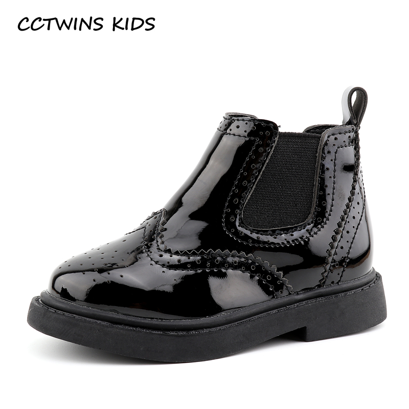 CCTWINS KIDS 2017 Toddler Boy Black Shoe Children Real Leather Ankle Boot Kid Fretwork Baby Girl
