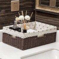 Storage Basket Rectangular Wicker Liner Snacks Fruit Bread Organizer Picnic Containers Cosmetics Storage Box Desktop Household