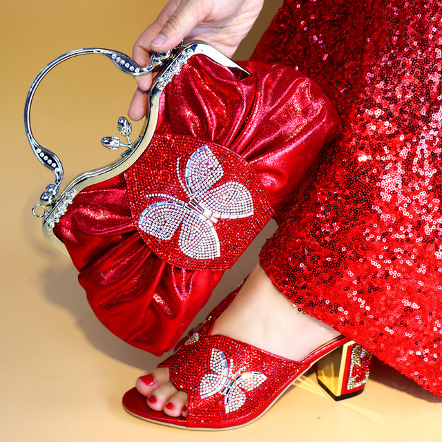 Wonderful Red Big Handbag Matching Shoes Set With White Bowtie Rhinestone for African Women Pumps And Bag Set For Dress LY591