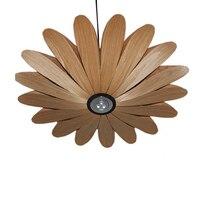 Dia60cm/70 cm Tournesol Chêne/Écorce de Cerisier En Bois Led Pendentif Lampe Moderne Décoration De Luxe Luminaire pour Salon L'escalier chambre