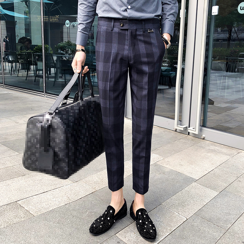Plaid Check Men Dress Pant Slim Fit Blue Brown Pantalon Costume Homme Summer Dress Pants For Men Pantalon De Vestir Hombre