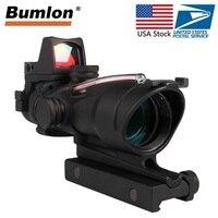 Тактический Riflescope 4X32 Rifle Scope W/Настоящее красное зеленое волокно мини Красный точка зрения для страйкбола охота стрельба винтовка RL6 0058