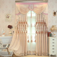 New Pink Curtains for Living Dining Room Wedding Curtains for Bedroom Chenille Embroidered Curtain Valance