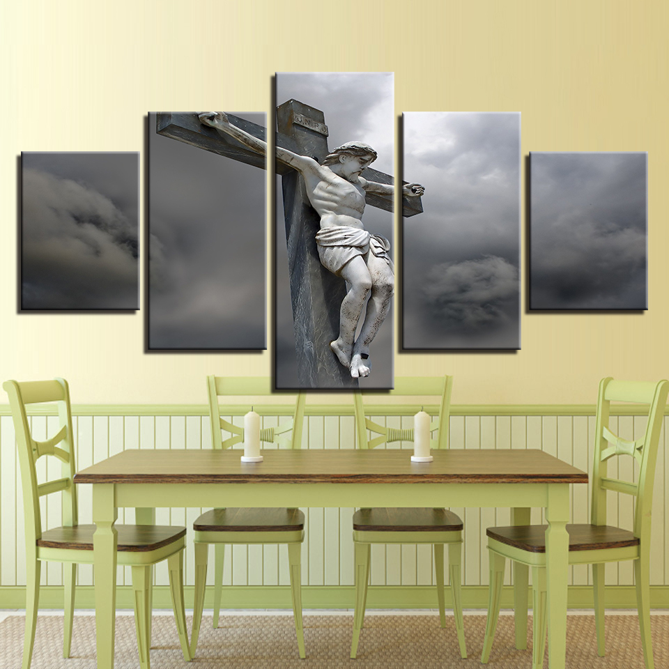 Canvas Pictures Wall Art Modular Prints Cross Posters 5 Pieces Jesus ...