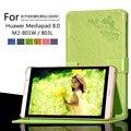 Para Huawei Mediapad 8.0 M2-801W / M2-803L patrón de impresión soporte de la cubierta protectora flor de impresión de cuero caso