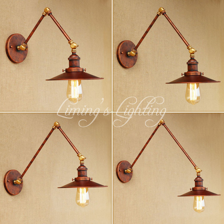 Loft Style Swing Arm Edison Wall Sconce Bedside Wall Lamp Iron Vintage Wall Light Fixtures For Home Indoor Lighting Lampara