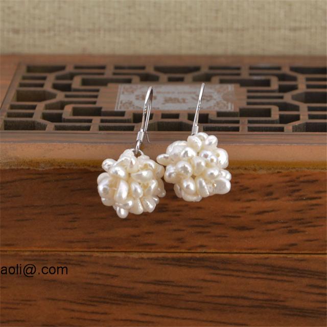 2016 genuine freshwater pearl Earring moda forma cultivadas pérola 925 sterling-alta qualitysilver Brinco de pérola