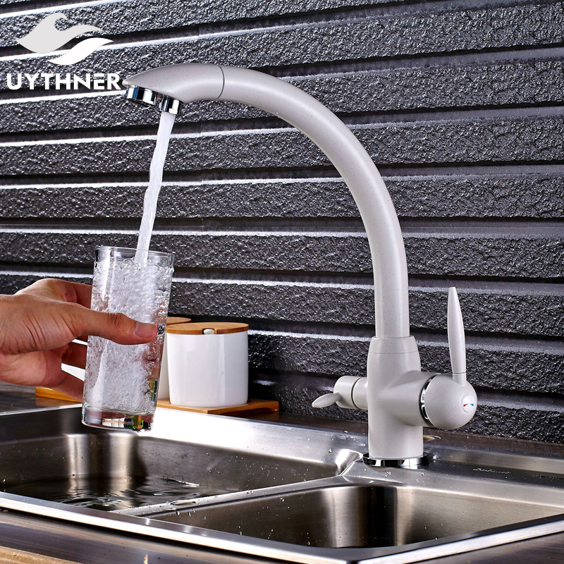 Uythner Chrome White Finished Kitchen Faucet with Two Spout Two Switch Deck Mounted Mixer Tap