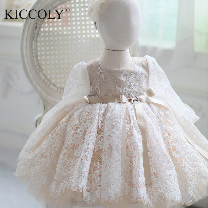 Cute Flower Girls Wedding Dress Long Sleeve Baby Girl Christening Gown For Party 1 Year Baby Girl Birthday Dress Baptism Clothes