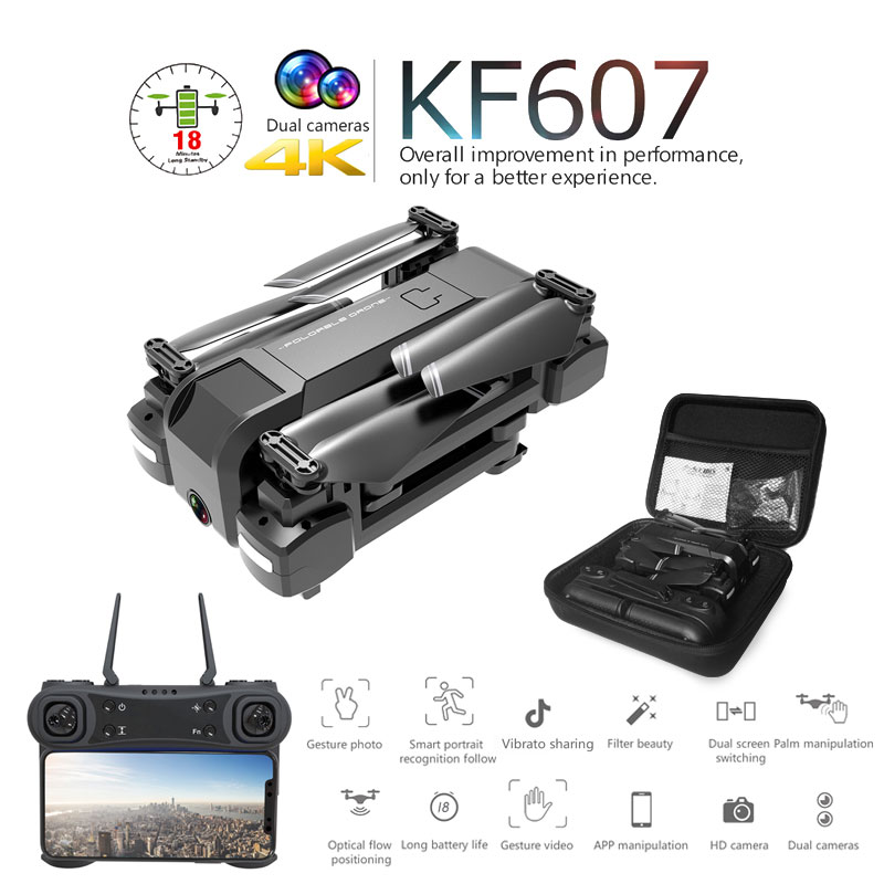 Newest KF607 Quadcopter With Wifi FPV 1080P 4K HD Dual Camera Optical Flow Selfie Drone Foldable Mini Dron VS SG106 Visuo Xs816