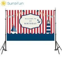 Sunsfun 7x5FT Naval Theme Birthday Party Red White Stripes Ship Flags Backdrop Photobooth Photo Studio 220cm x 150cm 7x5ft shimmer and shine birthday party custom photo studio backdrop background banner vinyl 220cm x 150cm