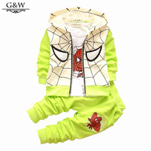 2016 autumn winter Baby Boys clothes set tracksuits Spider Man Suits Infant Clothing Set Kids Vest+T Shirt+Pants Children Suits