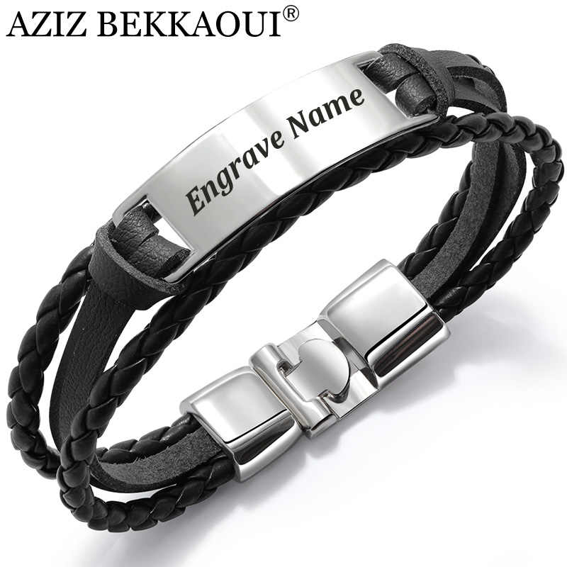 AZIZ BEKKAOUI 4 Color Fashion Multiple Layers Engrave Name Bracelet For Men DIY Vintage Leather Bracelets & Bangle Male Jewelry