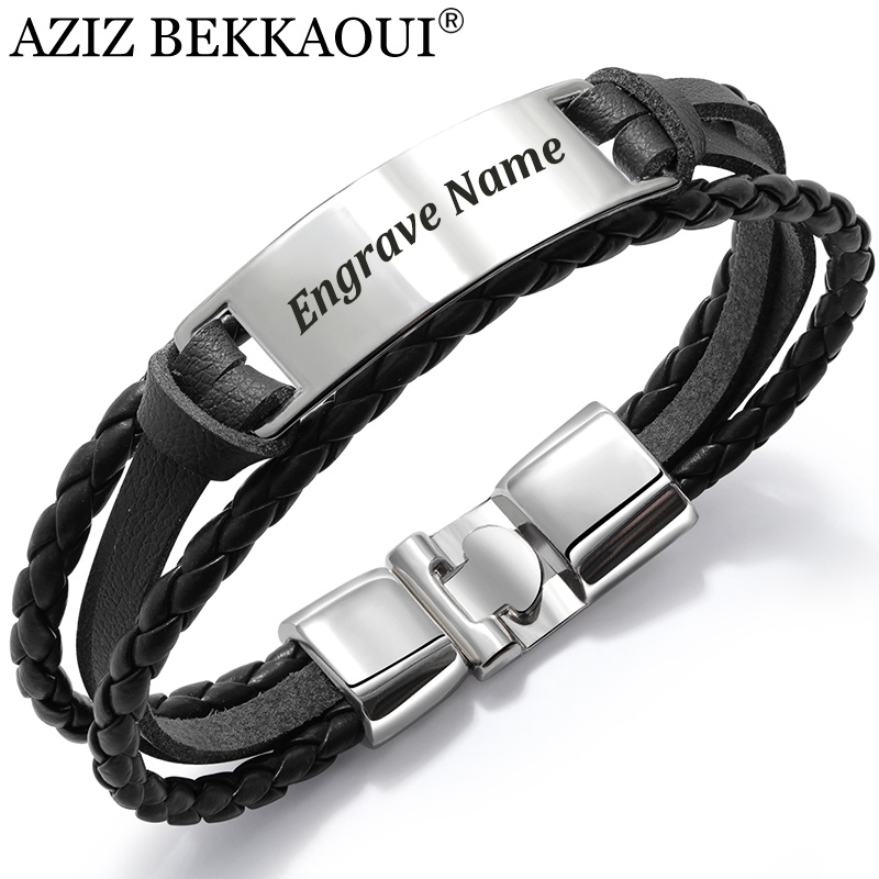 AZIZ BEKKAOUI 4 Color Fashion Multiple Layers Engrave Name Bracelet For Men DIY Vintage Leather Bracelets & Bangle Male Jewelry circle
