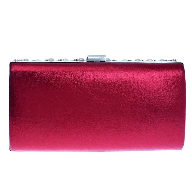 Red/Blue/Black/Silver/Gold Candy Color Women Evening Bags Beaded Wedding Diamonds Purse Handbags Messenger Chain Shoulder Bag