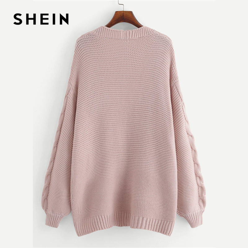 77882daa0e34 SHEIN Plus Size Long Sleeve Acrylic Casual Women Pink Long Knitted Cardigan  Autumn Winter Open Stitch Solid Sweater