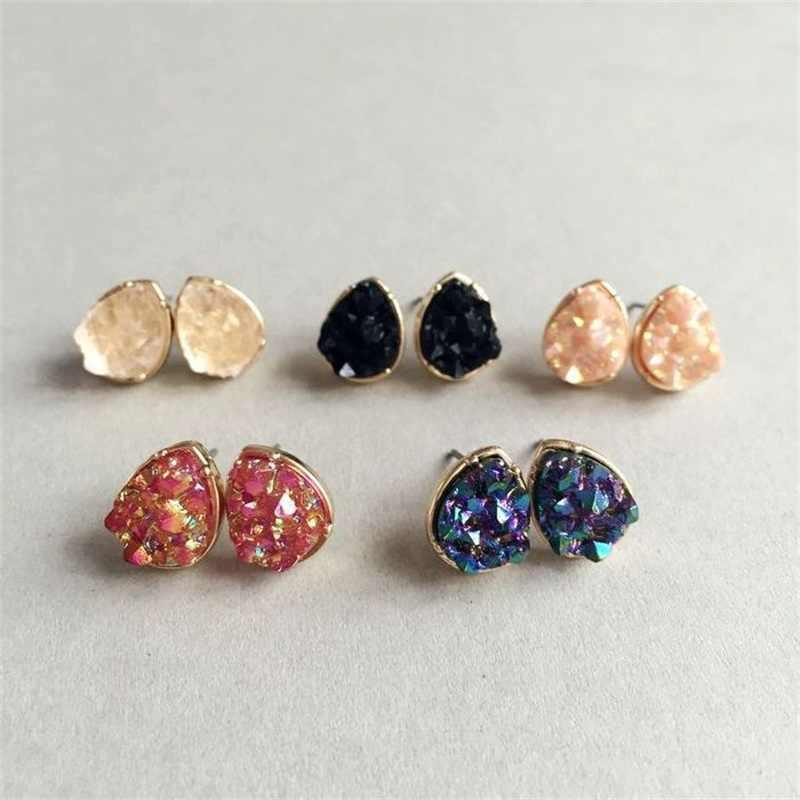 5 色水滴 Drusy ポストスタッドピアスファッションクォーツ石のイヤリングゴールドカラーかわいい女性