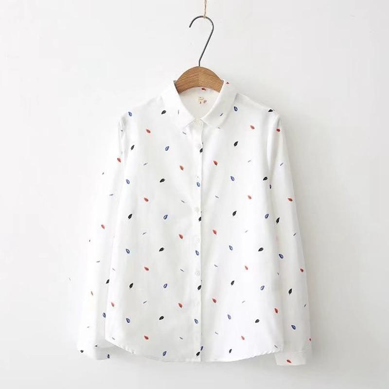 EYM Brand Printed Shirts Women 2019 Spring New Women Long Sleeve Blouse Good Quality Cotton Blouses
