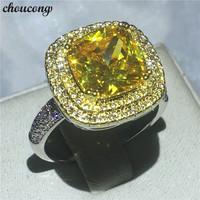 choucong Fashion Cushion cut 5A zircon Crystal ring White Yellow gold filled Engagement Wedding Band Rings For Women bijoux