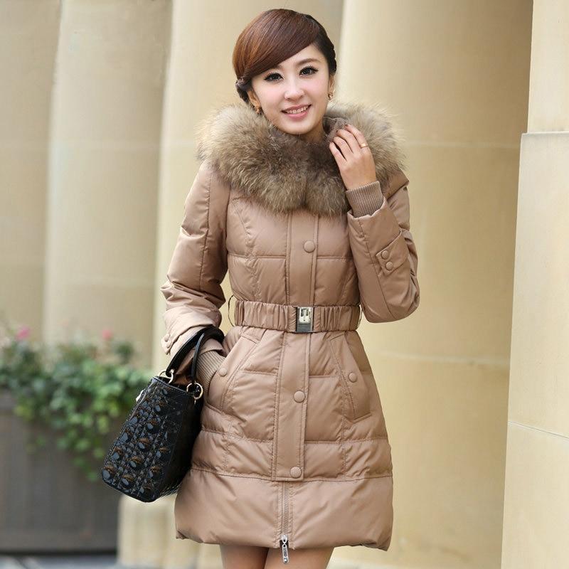 2013 winter fashion elegant women Raccoon fur collar Slim waist plus size medium long white duck down jacket S/M/L/XL/XXL D2117 цены онлайн