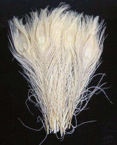 50 шт./лот 10-12 дюймов 25-30 см кремово-белый павлиний хвост павлиньи перья