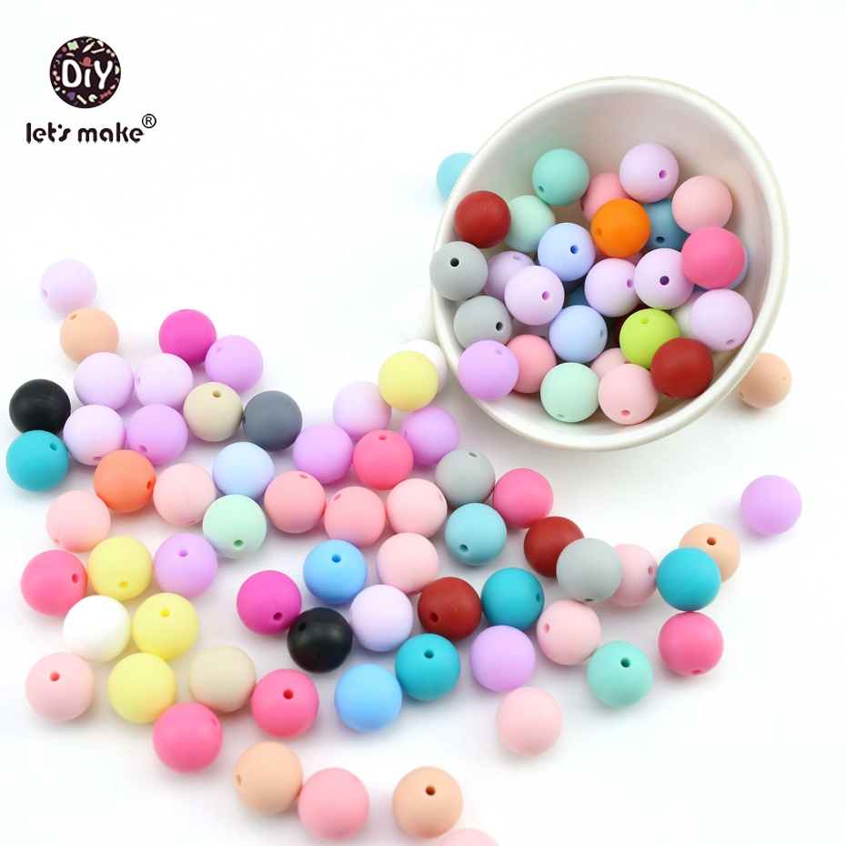 Let's Make Baby Teether 15mm 30pc Perle Silicone Round Beads Stretchy DIY Teether Oral Care Necklaces Shower Gift Teething Toys