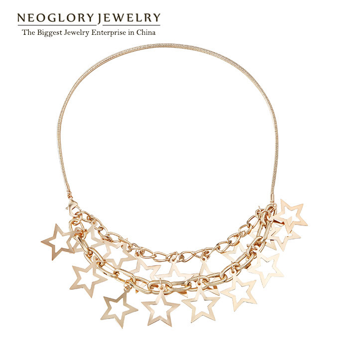 Neoglory Gold Plated Stars Bib Chain Choker Necklace for font b Women b font Shinning Star