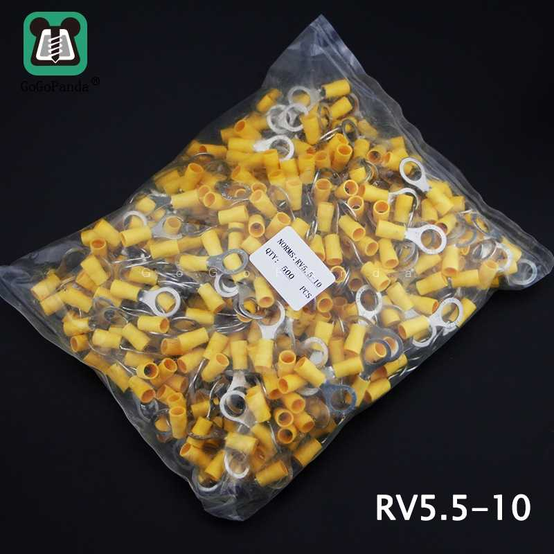 500PCS RV5.5-(4 5 6 8 10 12) Yellow Ring Insulated Terminal Cable Crimp Terminal Suit 4-6mm 12-10 Cable Wire Connector  AWG