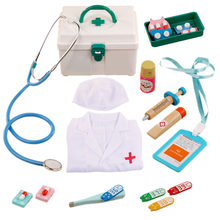 14Pcs/set Children Pretend Play Medical Kit Role Play Doctor Playset with Doctor's Overall For Boys Girls Birthday Gift 2 Colors(China)