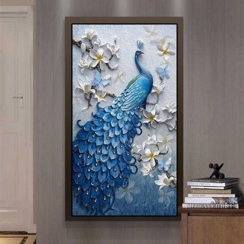Custom Modern 3D Photo Wallpaper Relief Peacock Oil Painting Coffee Store Wall Mural Door Living Room Hallway Decor Painting custom large modern mural painting three dimensional relief flower 3d tv setting wall wallpaper