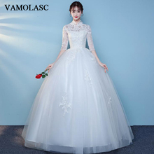 VAMOLASC Illusion High Neck Lace Appliques Ball Gown Wedding Dresses Elegant Half Sleeve Backless Bridal Gowns