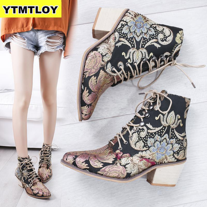 Retro Bohemian Women Boots Printed Ankle Vintage Motorcycle Booties Ladies Shoes Woman 2019 New Embroider  High Heels Boots 2