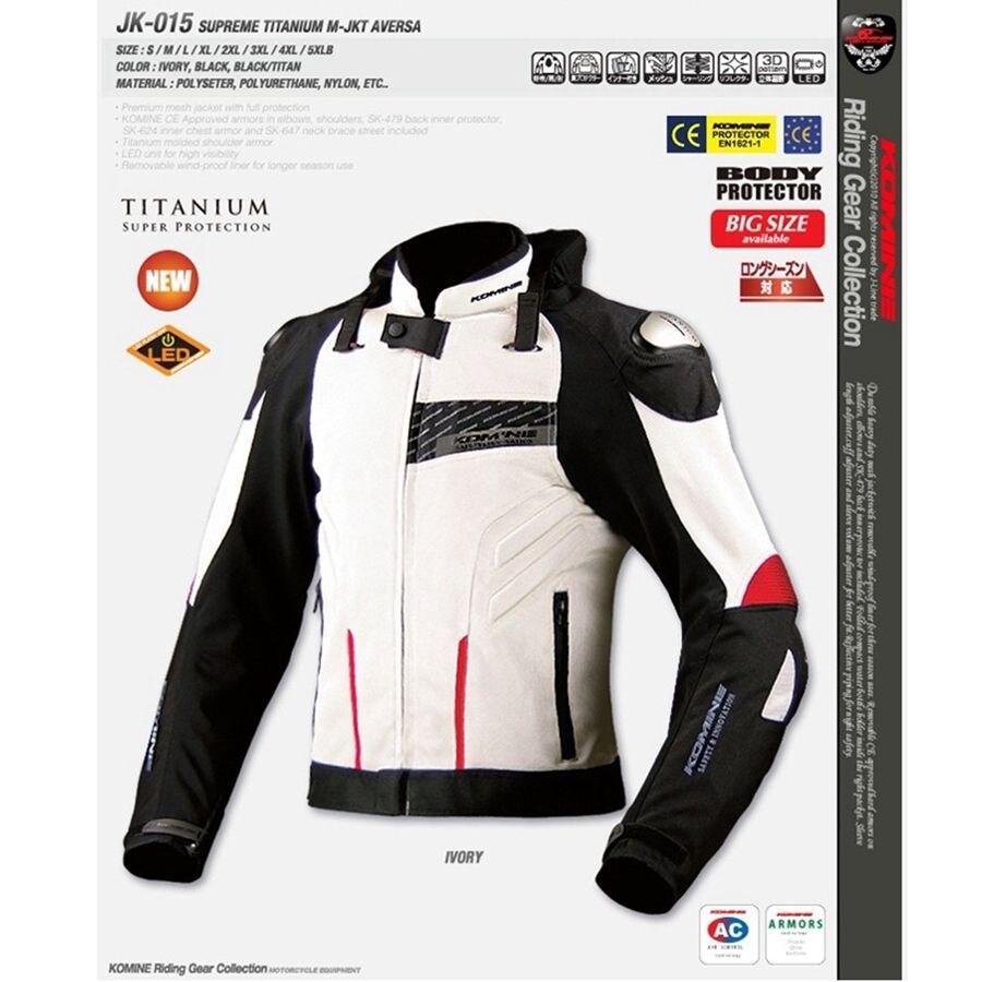 Livraison gratuite 1 pièces Maille homme Motard Motocross Doublure Étanche En Alliage de Titane Moto Veste avec 6 pièces tampons