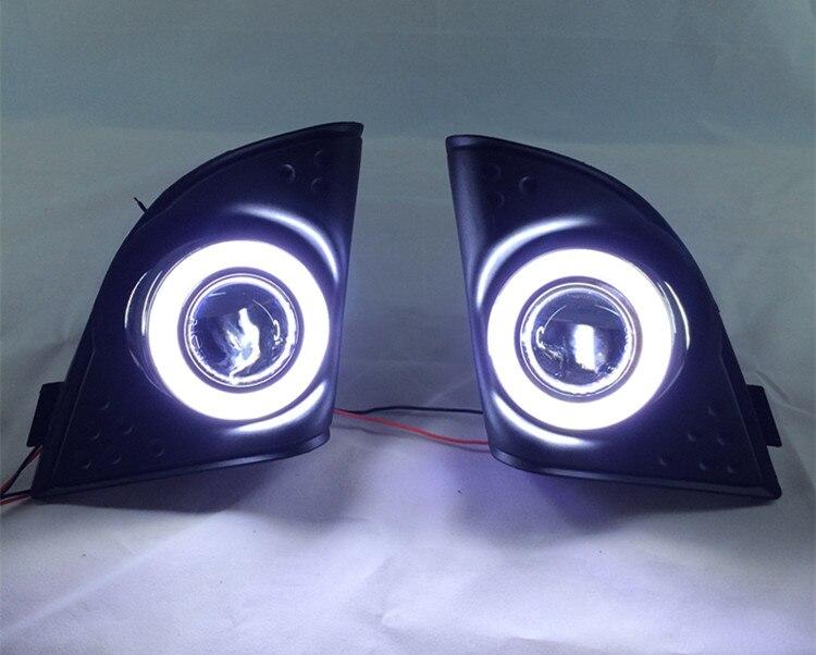 eOsuns COB angel eye led daytime running light DRL + halogen Fog Light + Projector Lens for honda accord 2008 2015, black base