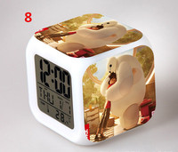 2016 New Big Hero 6 Reloj Despertador Digital Alarm Clocks Kids Baymax LED 7 Color Flash