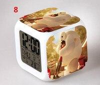 2016 New Big Hero 6 Reloj Despertador Digital Alarm Clocks Kids Baymax LED 7 Color Flash