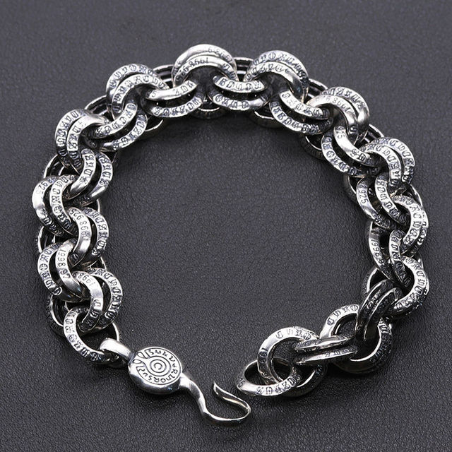Homens jóias Atacado Genuine 100% Real Pure 925 Sterling Silver Men pulseira cadeia corda vintage frete grátis fine jewelry 2017