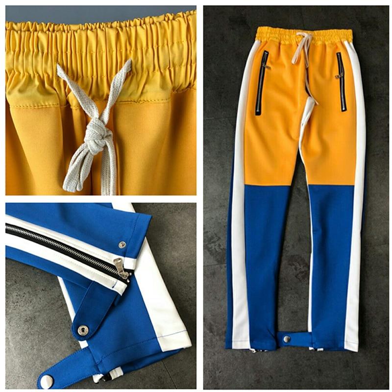 2018 la peur de dieu long pantalon kanye west streetwear brouillard Colorblock coton hip hop Vintage casual pantalon joggeurs pantalons de Survêtement pantalon