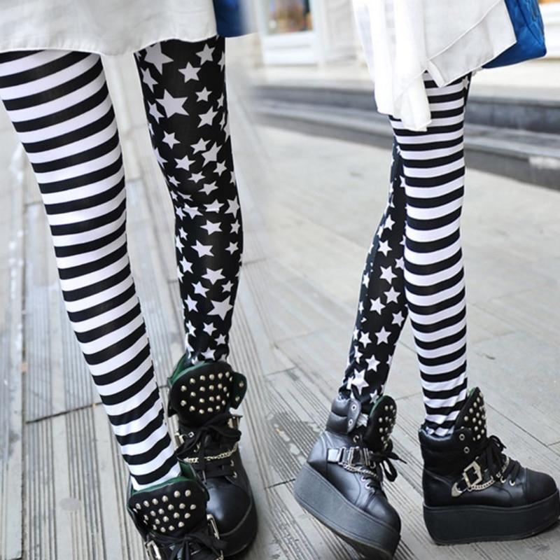 Women Stripe+Stars Leggings Elastic Waist Stretch Pencil Pants Jeggings