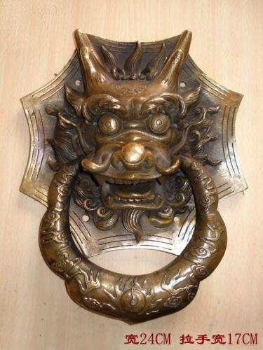 Cuivre laiton chinois artisanat décoration belle chinoise Bronze Dragon tête porte heurtoir 10