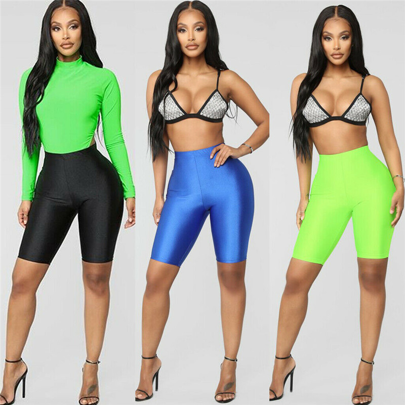 2019 Women High Waist Stretch Biker Shorts Sports Yoga Shorts Workout Pants Clubwear Leggings Running Jogging Slim Biker Shorts