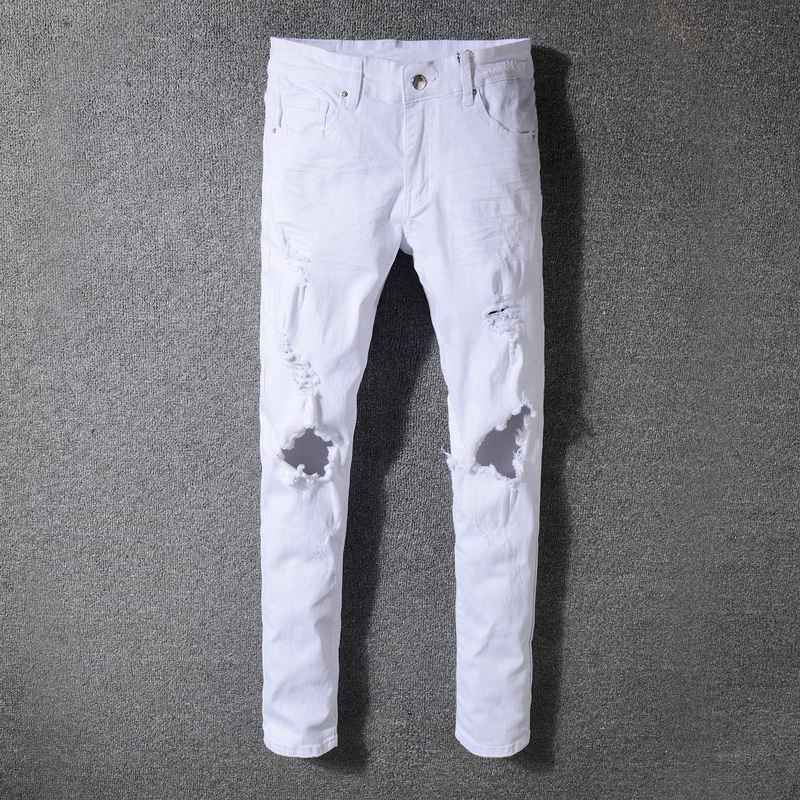 White Color High Street Fashion Men's Jeans Skinny Fit Elastic Ripped Jeans Stretch Punk Pants Balplein Brand Hip Hop Jeans Men men elastic foot drawstring jeans